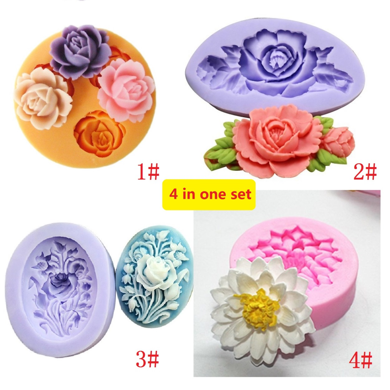 Set of 4 Flower Shape Silicone Cake Decorating Fondant Mold Cake