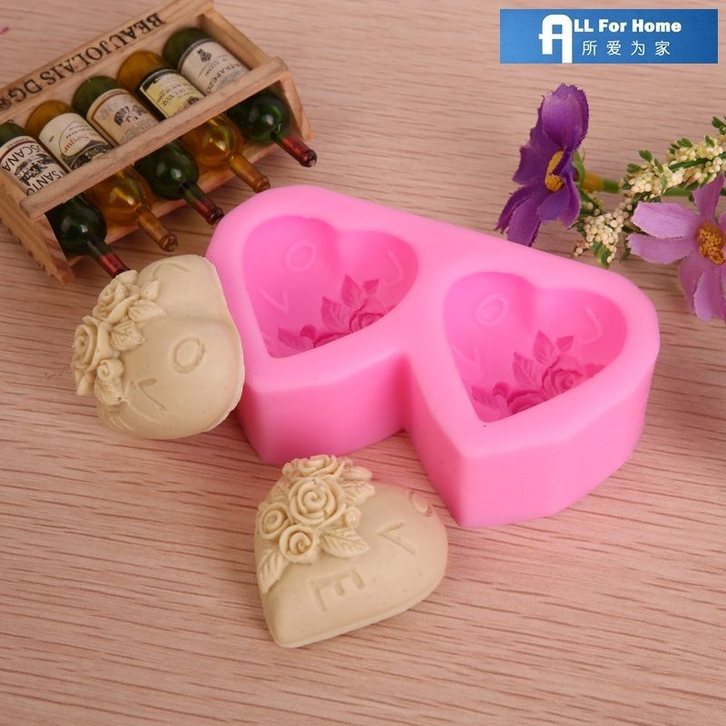 Valentine's Day Rose Heart Silicone Chocolate Candy Soap Mold
